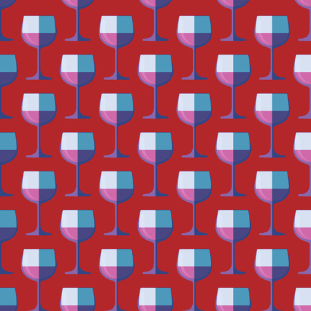 graphic art: vector colored pop art style red wine glass seamless pattern on purple background