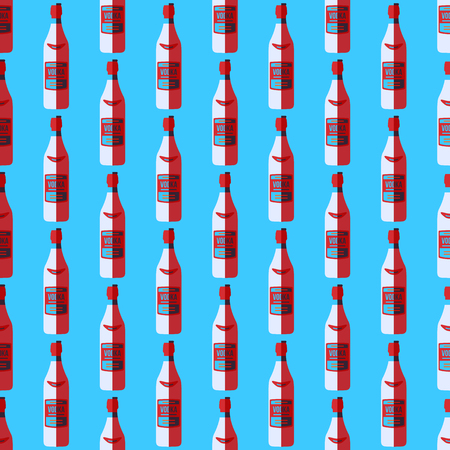 warhol: vector colored pop art style white red vodka bottle seamless pattern on blue background