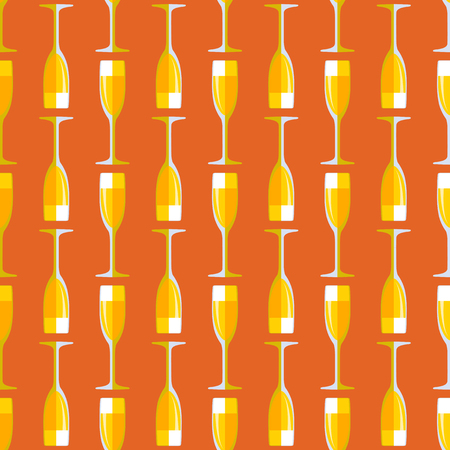champagne orange: vector gold colored flat style orange champagne glass seamless pattern on brown background