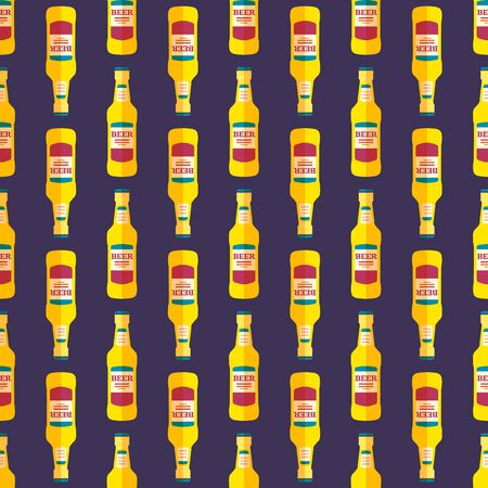 dark beer: vector colored pop art style yellow beer bottle seamless pattern on dark blue background