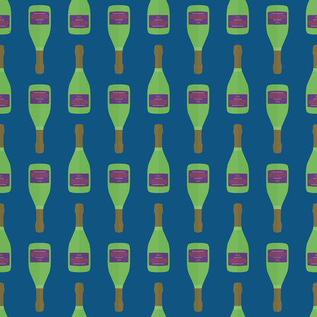 warhol: vector colored pop art style neon green champagne bottle seamless pattern on dark blue background Illustration