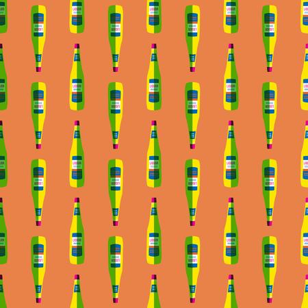 food art: vector colored pop art style lemon yellow liquor bottle seamless pattern on orange background