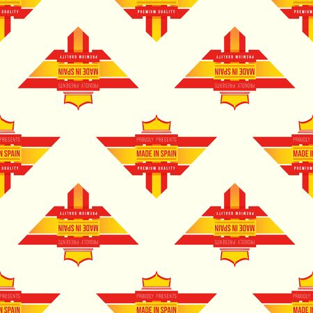 made in spain: vector colored flag ribbon made in Spain seamless pattern on light background