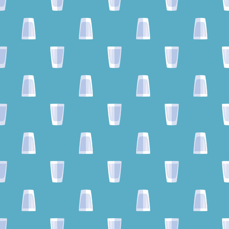 shot glass: vector blue colored flat style vodka shot glass seamless pattern on cyan background