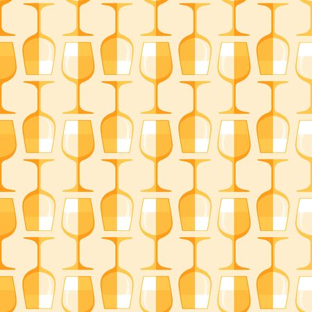 luxury paper: vector gold colored flat style white wine glass seamless pattern on light background