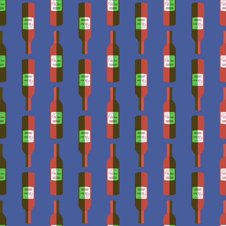 vector colored pop art style red wine bottle seamless pattern on blue background