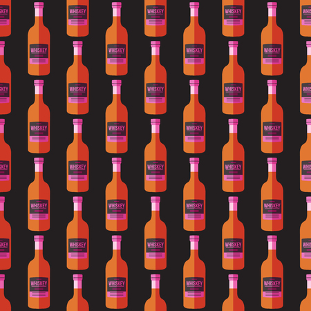 art product: vector colored pop art style brown orange whisky bottle seamless pattern on dark background Illustration