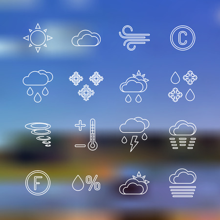 vector white outline weather forecast icons collection sun rain wind temperature Celsius thermometer downfall sleet partly cloudy showers humidity drop percent snow on summer landscape blurred background