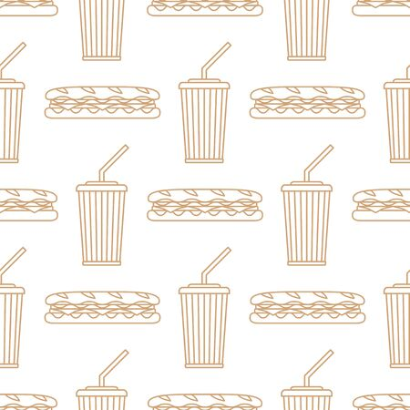 ham and cheese: vector brown gold color outline submarine baguette sandwich salad ham cheese tomato soda cold drink paper takeaway cup straw seamless pattern on white background