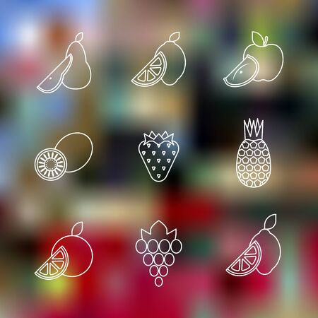 cartoon strawberry: vector white color outline style various fruits icons set on blurred color background