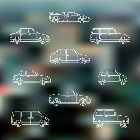 classification: vector white outline various body types of cars classification gray blurred background