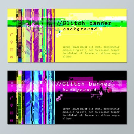 glitch: vector colored abstract digital glitch art design horizontal flyers templates social contacts icons isolated yellow and black backgrounds