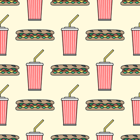 ham and cheese: vector colored outline submarine baguette sandwich salad ham cheese tomato soda cold drink red paper takeaway cup straw seamless pattern on beige background