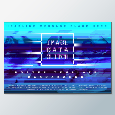 scrambled: vector blue colored abstract digital glitch art design horizontal flyer poster banner template isolated background Illustration