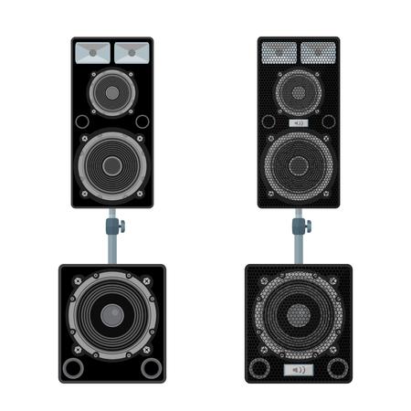 subwoofer: vector colored flat design loudspeakers satellites stands subwoofer illustration isolated white background Illustration
