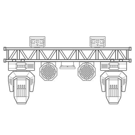 truss: vector monochrome contour metal frame concert stage truss lighting moving head led par UV spotlight various position isolated white background