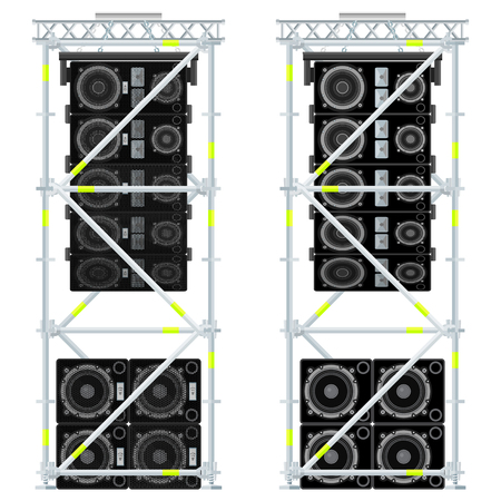 subwoofer: vector colored flat design event line array massive loudspeakers satellites suspended metal scaffold subwoofers isolated illustration white background