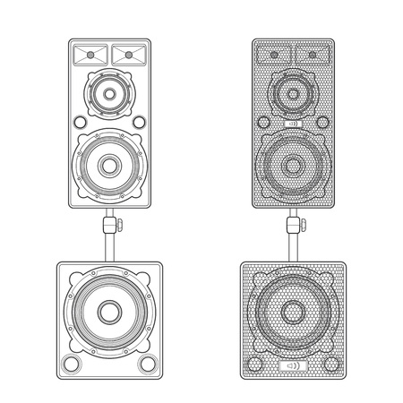 subwoofer: vector monochrome contour design loudspeakers satellites stands subwoofer illustration isolated white background