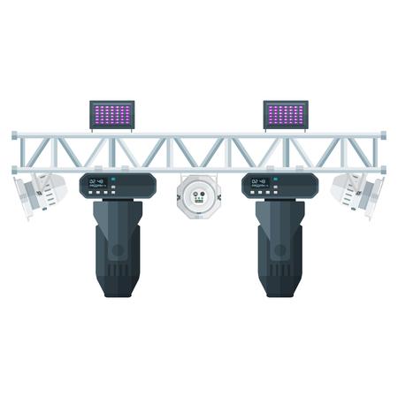ベクトル分離の白い背景を配置金属フレーム コンサート ステージ トラス照明移動 UV ヘッド led パー スポット ライトの様々 な色のフラット デザイン 写真素材 - 52132422