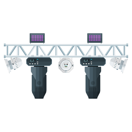 vector colored flat design metal frame concert stage truss lighting moving head led par UV spotlight various position isolated white background Ilustracja