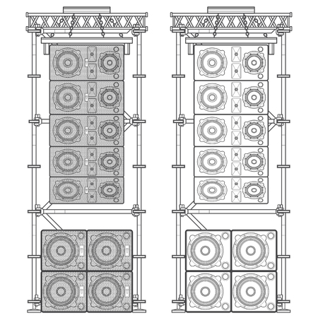 suspended: vector monochrome outline event line array massive loudspeakers satellites suspended metal scaffold subwoofers isolated illustration white background