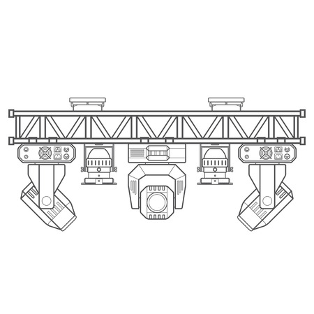 vector monochrome contour metal frame concert stage truss lighting moving head led par UV spotlight various position isolated white background