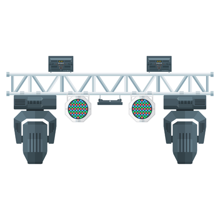 stage spotlight: vector colored flat design metal frame concert stage truss lighting moving head led par UV spotlight various position isolated white background Illustration