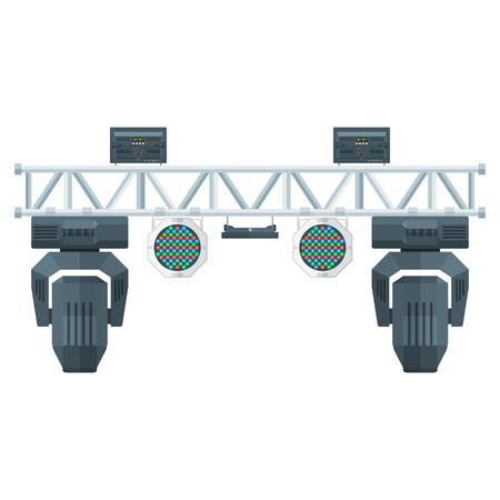 vettore colorato design piatto di illuminazione struttura in metallo palco concerto capriata testa mobile LED PAR riflettori UV vari posizione isolata sfondo bianco