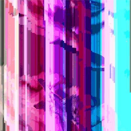 scrambled: vector vibrant violet pink cyan colors modern abstract digital vertical stripes glitch graphic design damaged data file background