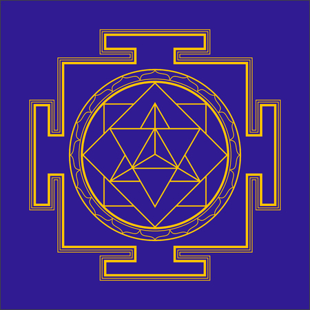 sri yantra: vector gold outline hinduism merkaba yantra illustration triangles diagram isolated on blue background