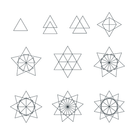 delta: vector trigon black outline monochrome variations delta sacred geometry decoration elements collection isolated white background