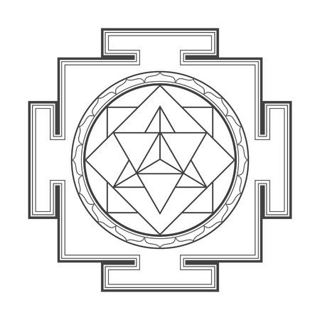 yantra: vector black outline hinduism merkaba yantra illustration triangles diagram isolated on white background Illustration