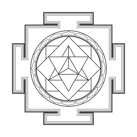 sri yantra: vector black outline hinduism merkaba yantra illustration triangles diagram isolated on white background Illustration
