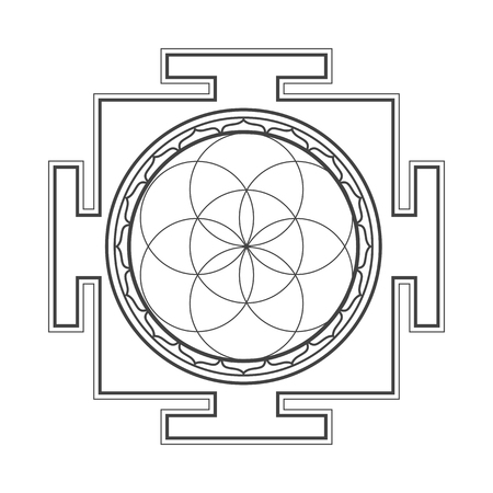 sri yantra: vector black outline hinduism seed of life yantra illustration circles diagram isolated on white background Illustration
