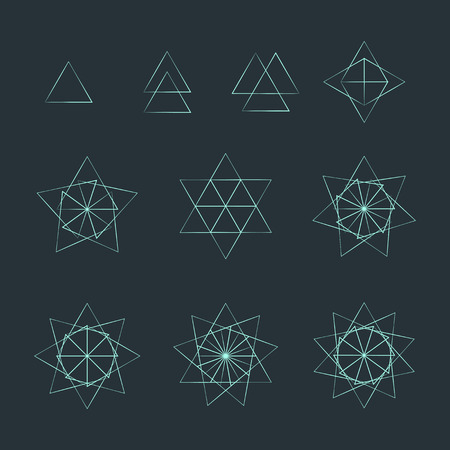 delta: vector trigon light outline monochrome variations delta sacred geometry decoration elements collection isolated dark background