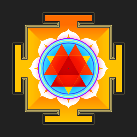 yantra: vector colored hinduism Durga yantra Dum Durgaye illustration triangles diagram isolated on black background