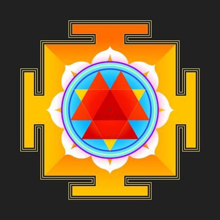 sri yantra: vector colored hinduism Durga yantra Dum Durgaye illustration triangles diagram isolated on black background
