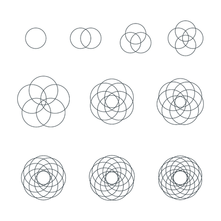 vector circle black outline monochrome variations sacred geometry decoration elements collection isolated white background Ilustração