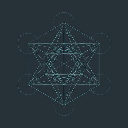 vector light outline metatron cube illustration triangles sacred diagram isolated dark background Illustration