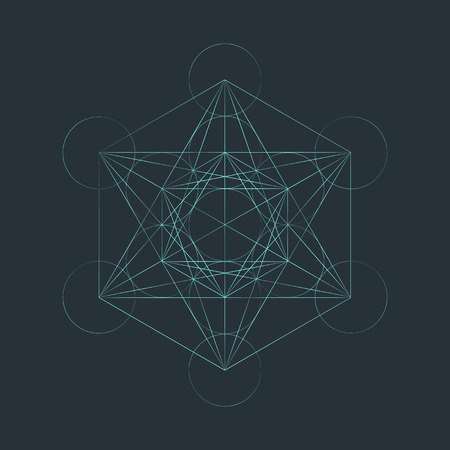 vector light outline metatron cube illustration triangles sacred diagram isolated dark background Ilustracja