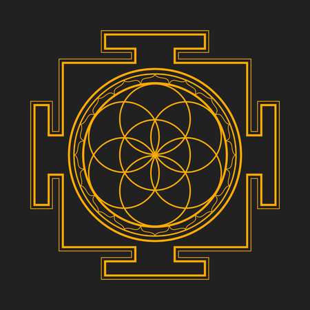 yantra: vector gold orange outline hinduism seed of life yantra illustration circles diagram isolated on dark background