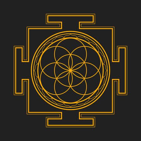 sri yantra: vector gold orange outline hinduism seed of life yantra illustration circles diagram isolated on dark background