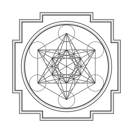 yantra: vector black outline hinduism metatron cube yantra illustration diagram isolated on white background Illustration
