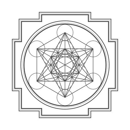 sri yantra: vector black outline hinduism metatron cube yantra illustration diagram isolated on white background Illustration