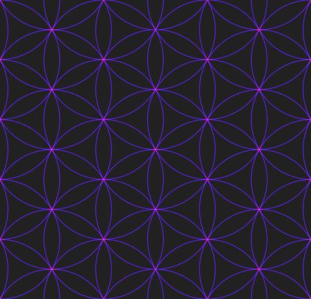 vector violet shiny color hinduism sacred geometry flower of life seamless pattern dark background Ilustração