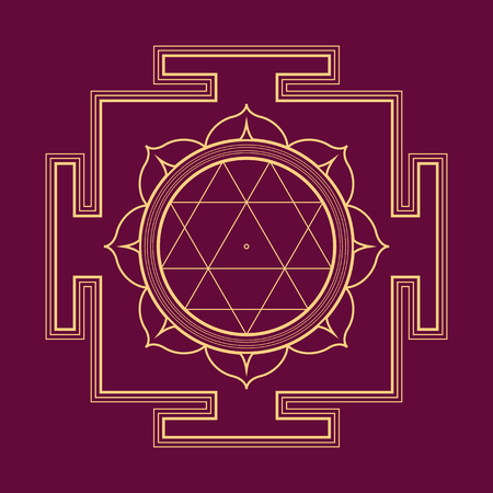vector gold outline hinduism Durga yantra Dum Durgaye illustration triangles diagram isolated on purple background Illustration