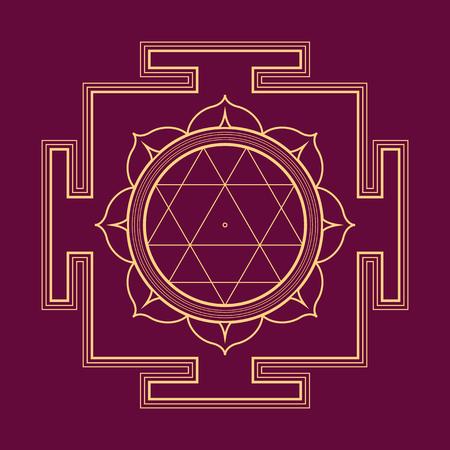 sri yantra: vector gold outline hinduism Durga yantra Dum Durgaye illustration triangles diagram isolated on purple background Illustration