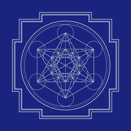 sri yantra: vector silver outline hinduism metatron cube yantra illustration diagram isolated on blue background