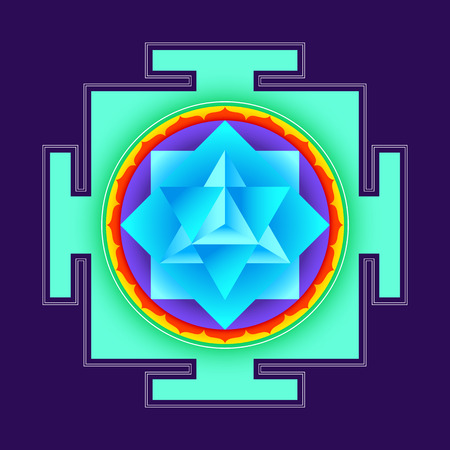 eastern spirituality: vector colored hinduism merkaba yantra illustration triangles diagram isolated on black background