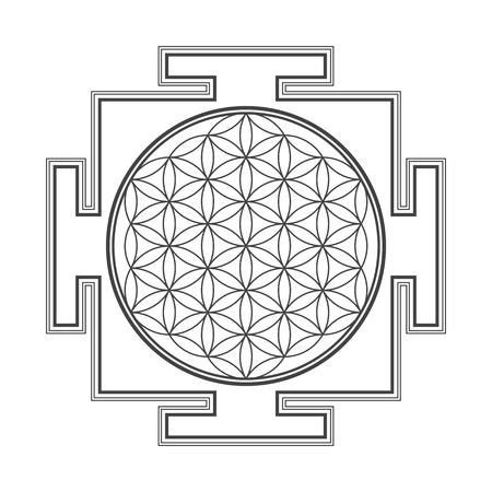 vector black outline hinduism  flower of life yantra illustration circles diagram isolated on white background Illustration